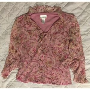 Worthington pink long sleeve ruffle blouse L